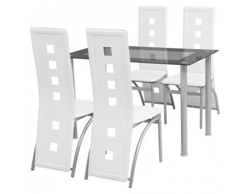 Set masa cu scaune, 5 piese, alb
