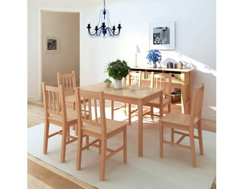 Set masa si scaune din lemn de pin 7...