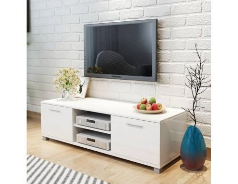 Comoda TV, alb extralucios, 120 x...