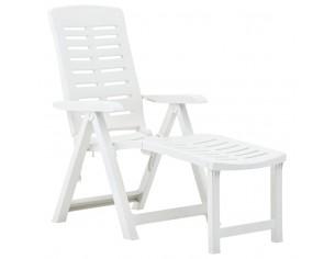 Sezlong pliabil, alb, plastic