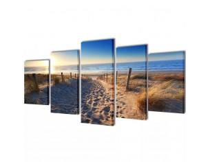 Set tablouri de panza plaja...