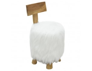 Taburet, alb, lemn masiv de...