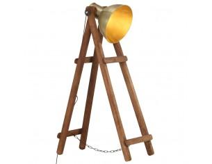Lampa de podea, alama, lemn...