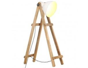 Lampa de podea, alb, lemn...