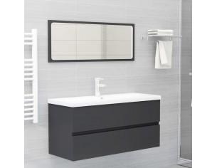 Set mobilier de baie, gri, PAL