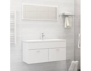 Set mobilier de baie, alb, PAL