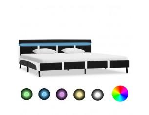 Cadru de pat cu LED, negru,...