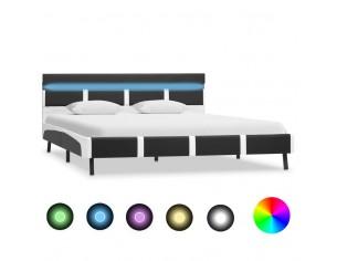 Cadru de pat cu LED, gri,...