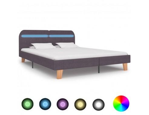Cadru de pat cu LED-uri, gri taupe,...