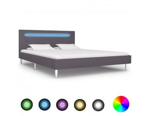 Cadru de pat cu LED-uri, gri, 140 x...