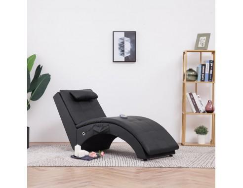 Sezlong de masaj cu perna, negru,...