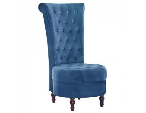 Scaun cu spatar inalt, albastru, catifea