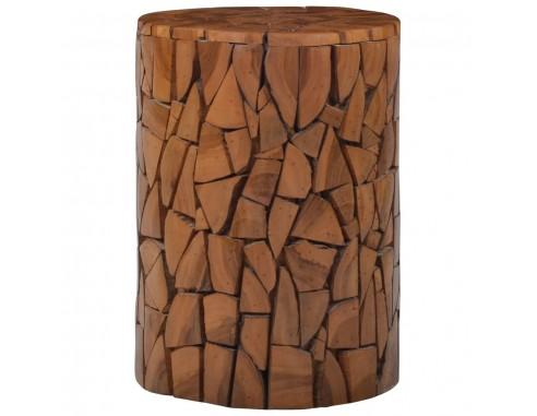 Taburet mozaic, maro, lemn masiv de tec