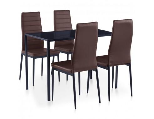 Set mobilier de bucatarie, 5 piese, maro