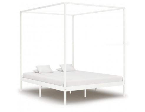 Cadru pat cu baldachin, alb,160 x 200...