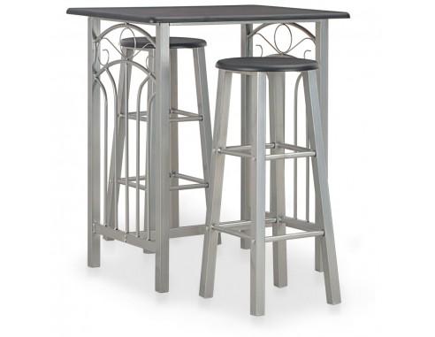 Set mobilier de bar, 3 piese, negru,...