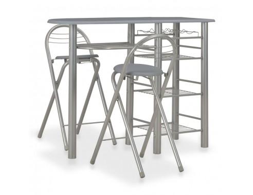 Set mobilier de bar, cu rafturi, 3...