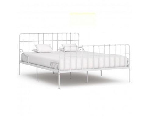 Cadru de pat cu baza din sipci, alb,...