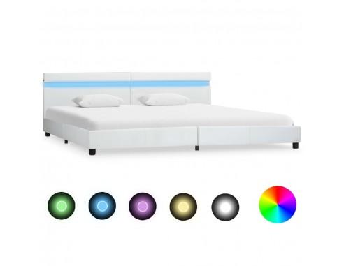 Cadru de pat cu LED, alb, 180 x 200...