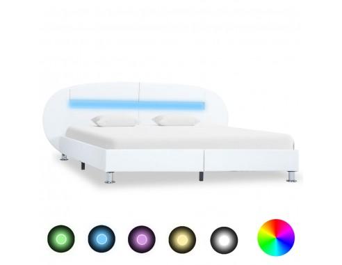 Cadru de pat cu LED, alb, 140 x 200...