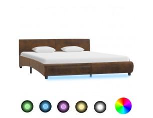 Cadru de pat cu LED, maro,...