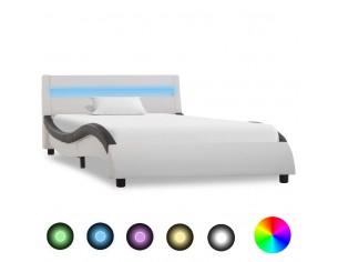 Cadru de pat cu LED, alb si...
