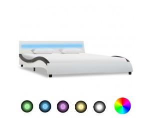 Cadru de pat cu LED, alb...