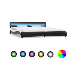 Cadru pat cu LED, negru si...