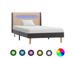 Cadru de pat cu LED, crem,...