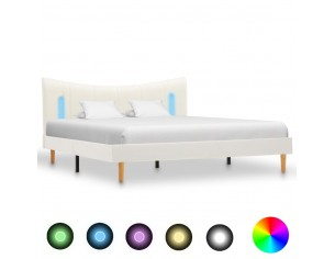 Cadru de pat cu LED, alb,...